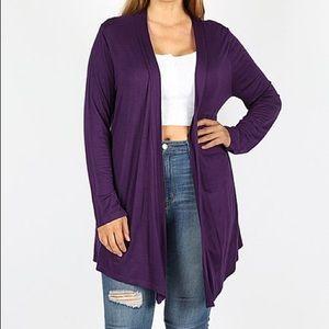 F21 Deep Purple Thin Knit 🧶 Cardigan Sweater